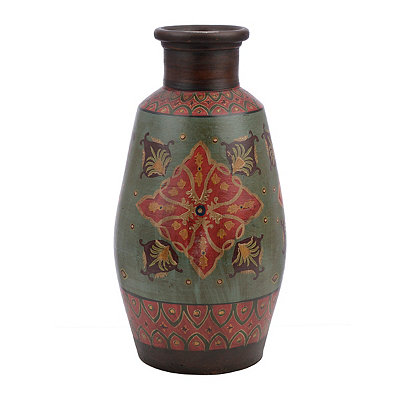 Global Medallion Terra Cotta Vase