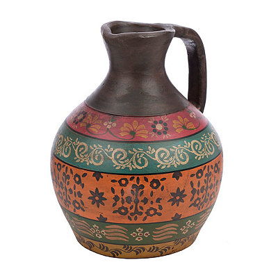 Multicolor Floral Terra Cotta Pitcher Vase