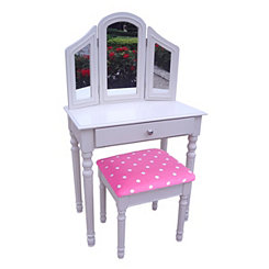 White and Pink Polka Dot Kids Vanity Set