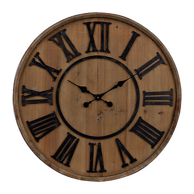 Wine Barrel Wood Clock