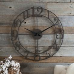 Pomeroy Distressed Bronze Open Face Clock