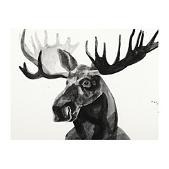 Black and White Watercolor Moose Canvas Art Print