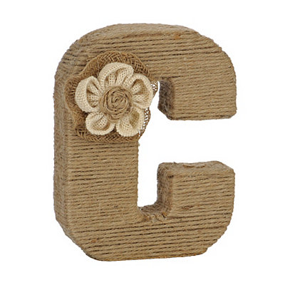 Wrapped Rope Burlap Monogram C Statue