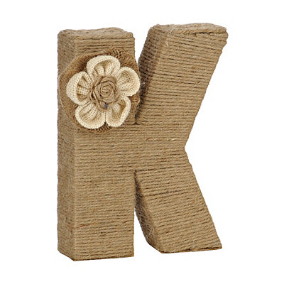 Wrapped Rope Burlap Monogram K Statue