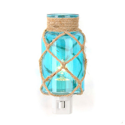 Jute-Wrapped Blue Glass Night Light