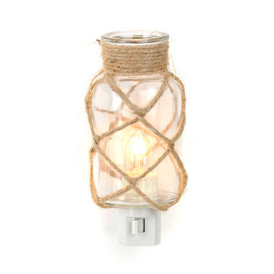 Jute-Wrapped Clear Glass Night Light