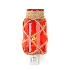 Jute-Wrapped Red Glass Night Light