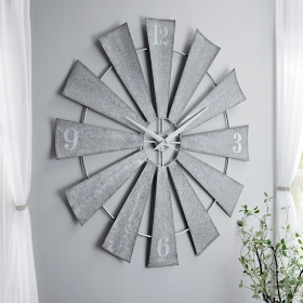 Anniblaire Galvanized Windmill Clock