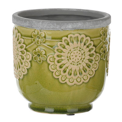 Green Floral Terra Cotta Planter