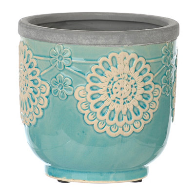 Turquoise Floral Terra Cotta Planter