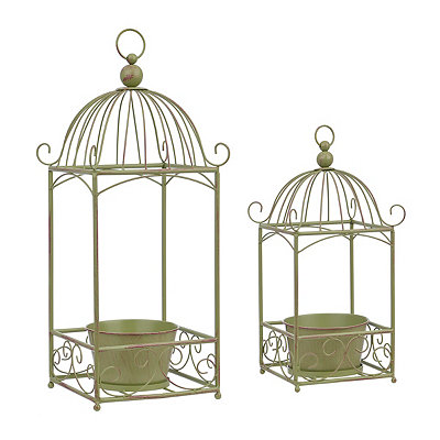 Green Metal Birdcage Planters, Set of 2