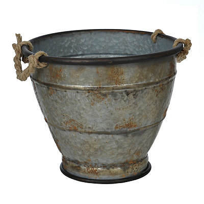 Large Galvanized Metal Planter with Rope Handles