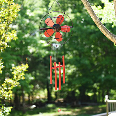 Red Retro Fan Wind Chime