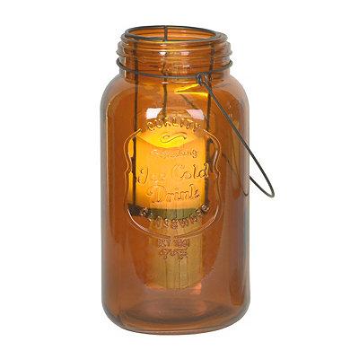 Amber Mason Jar LED Lantern