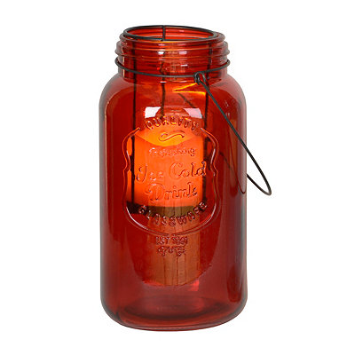 Red Mason Jar LED Lantern