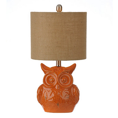 Orange Owl Ceramic Table Lamp