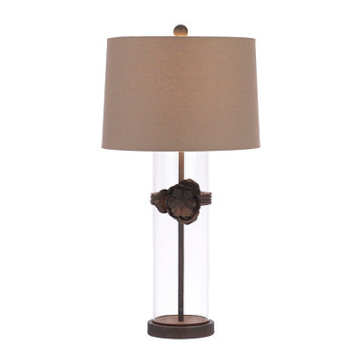 Bronze Flower Glass Table Lamp