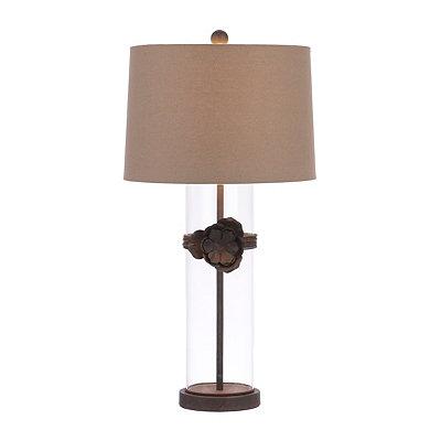 Bronze Flower Glass Table Lamp