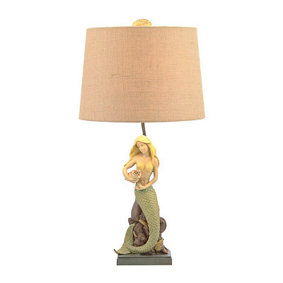 Painted Mermaid Table Lamp