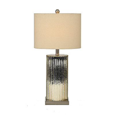 Chrome Column Mercury Glass Table Lamp