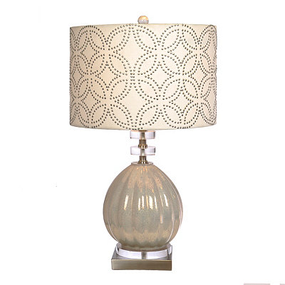 Zoe Studded Milk Glass Table Lamp