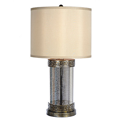 Brushed Metal and Glass Table Lamp