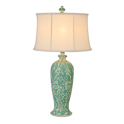 Turquoise Carved Floral Table Lamp