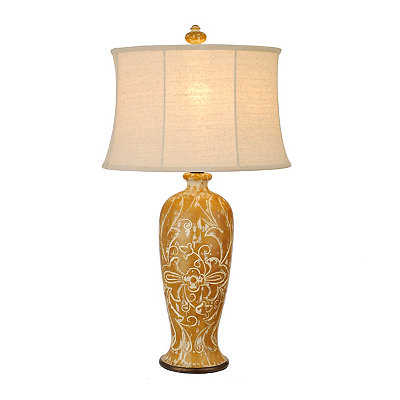 Mustard Carved Floral Table Lamp