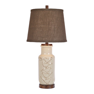 Ivory Embossed Bird Table Lamp