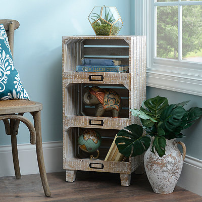 Triple Crate Wood Cabinet