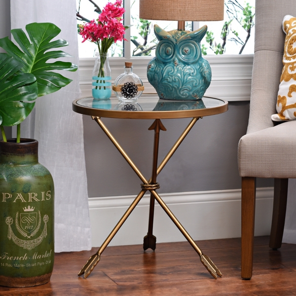 gold round arrow table