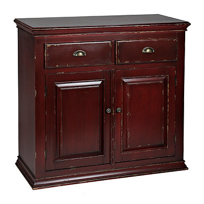 Distressed Red Lacquer Cabinet