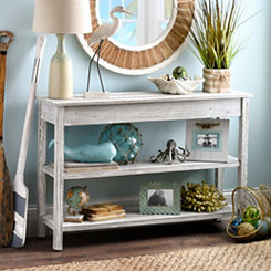 Whitewash Double Shelf Console Table