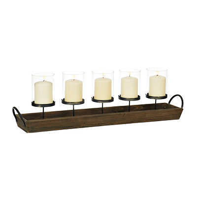 Wood Tray Pillar Candle Runner