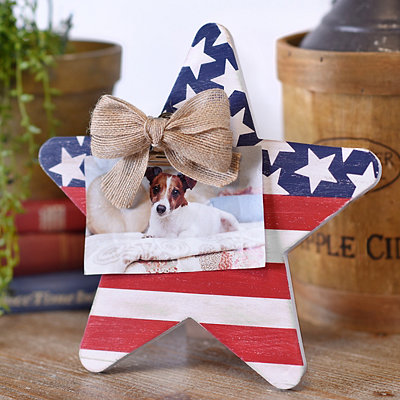 4th of July Star Wooden Clip Picture Frame