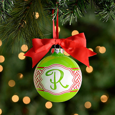 Green and Red Woven Pattern Monogram R Ornament