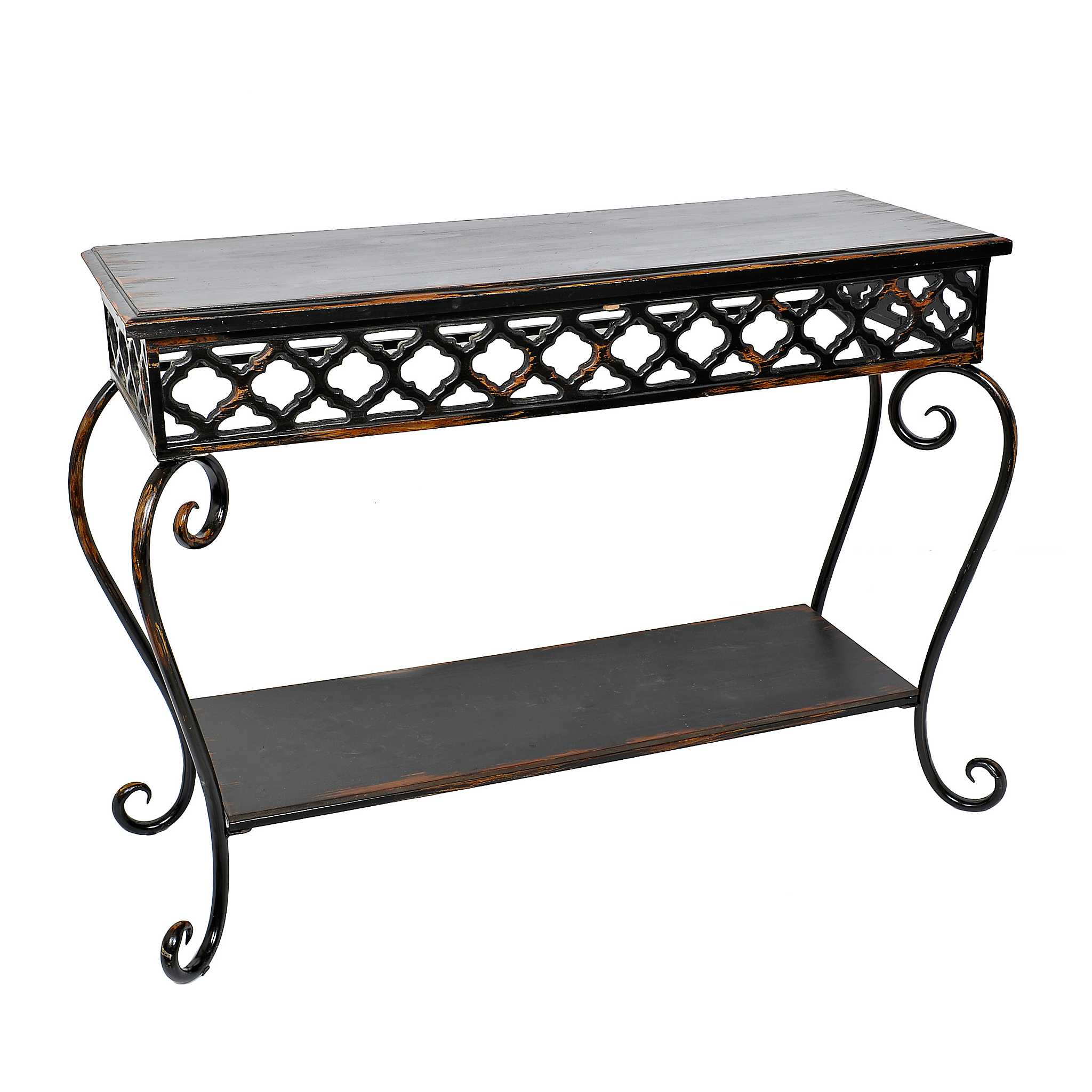 Bohemian black 2 tier console table kirklands for Sofa table kirklands