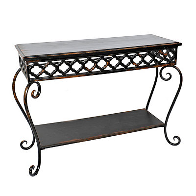 Bohemian Black 2-Tier Console Table