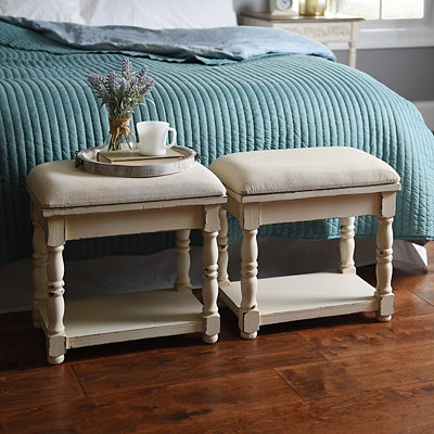 Upholstered Cream Wooden Ottoman