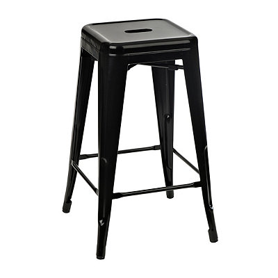 Stackable Black Industrial Metal Bar Stool
