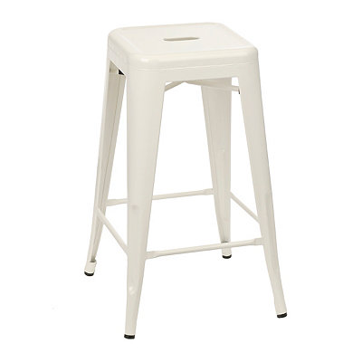 Stackable Cream Industrial Metal Bar Stool