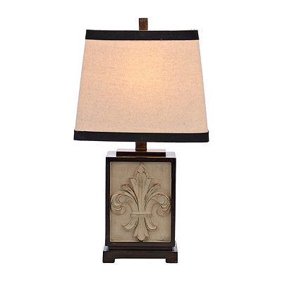 Cream Square Fleur-de-lis Table Lamp