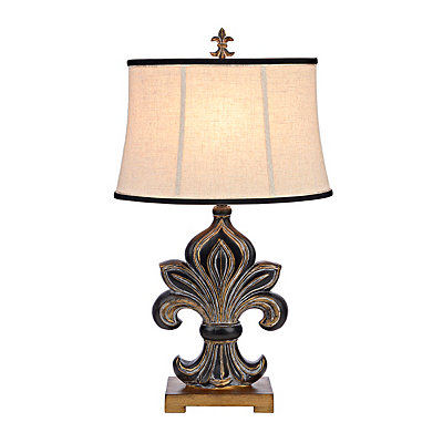 Black and Gold Carved Fleur-de-lis Table Lamp