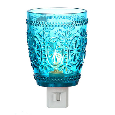 Vintage Blue Glass Night Light