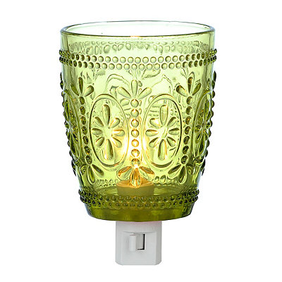 Vintage Green Glass Night Light