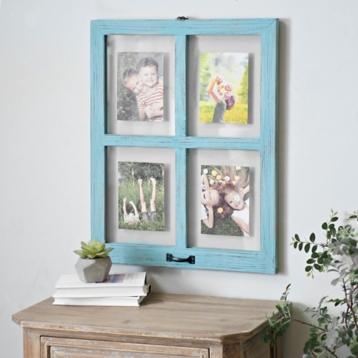 distressed blue window pane collage frame kirklands - Window Collage Frame