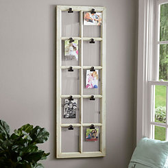 Wooden Window Pane 10-Opening Clip Collage Frame