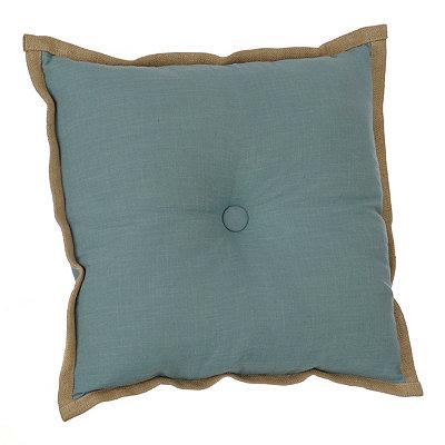 Aqua Flange Button Pillow