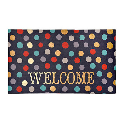 Metallic Polka Dot Welcome Doormat