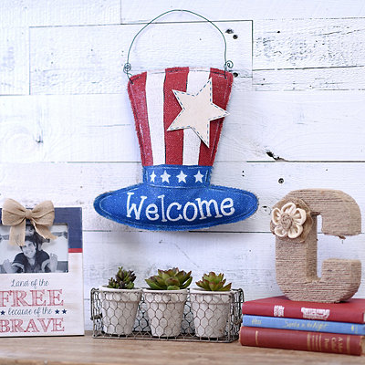 Burlap Uncle Sam Welcome Wall Hanger